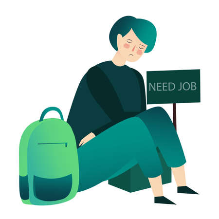 young man sat on ground sad face stressed around backpack need job concept with cartoon flat style