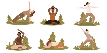 women yoga pose set collection with cartoon flat style