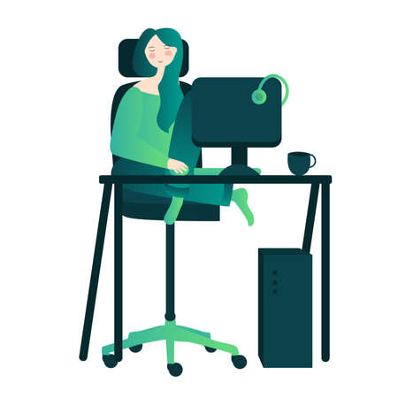 woman enjoyed rest on workspace with cartoon flat style 向量圖像