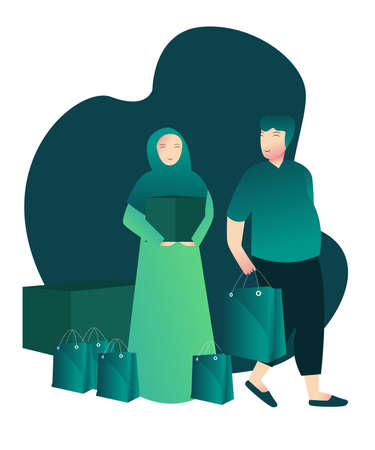 open donation concept islamic woman give shopping bag to man with cartoon flat style 向量圖像