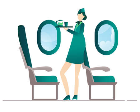 Air flight attendant brings drinks to serve passengers with cartoon flat style