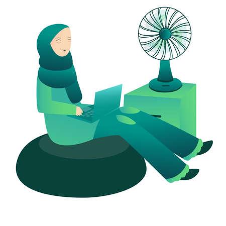 islamic woman working on laptop around fan with cartoon flat style