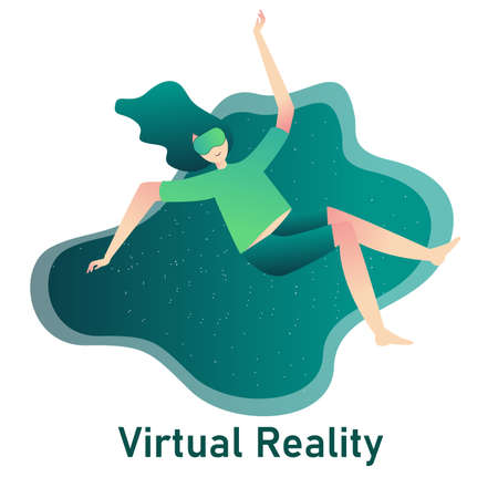 virtual reality concept exited women use vr glasses with cartoon flat style 向量圖像