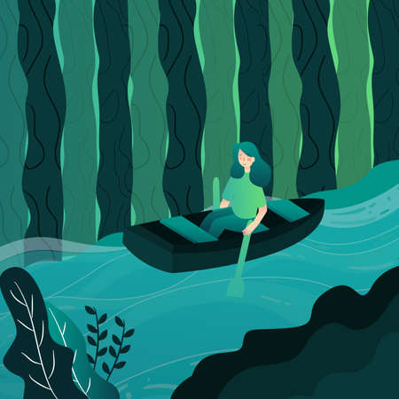 woman rowing boat on river with cartoon flat style