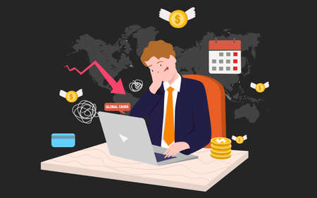 global crisis economy concept businessman stress front laptop background of black world map with flat cartoon style