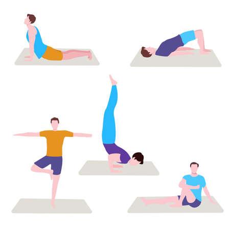 man yoga pose set collection with flat cartoon style 向量圖像