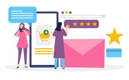 women give feedback comment star for product commerce use smartphone with flat cartoon style 向量圖像