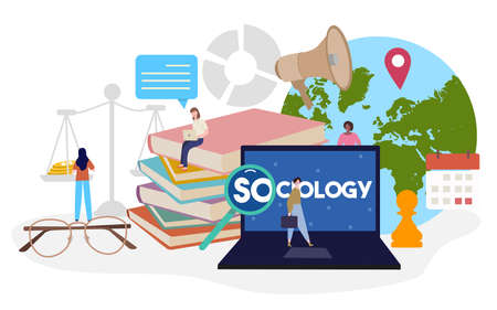 sociology studies concept people around laptop scale book speaker location pointer earth chess calendar spectacles with flat cartoon style