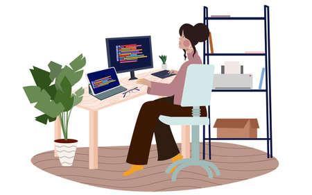women work on computer development program software with flat cartoon style