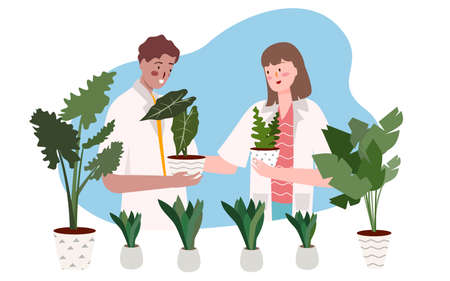 scientist research plant in laboratory with flat cartoon style