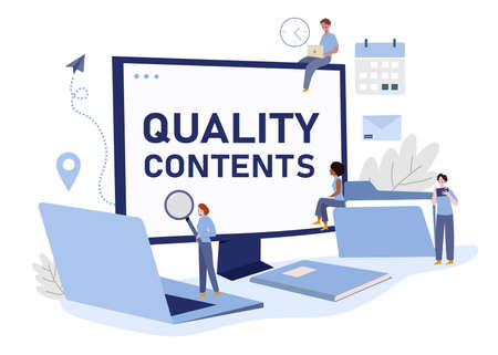 creative teams are discussing to get ideas so they can create quality content with modern flat design vector illustration 向量圖像