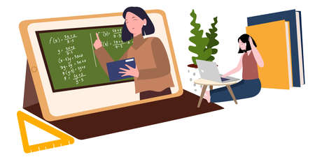 women learning use laptop with modern flat style 向量圖像