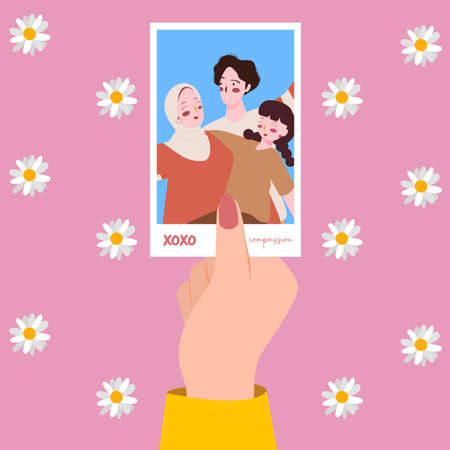 hand hold family picture background flower with modern flat style 向量圖像