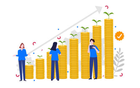 financial health concept man and woman collaboration analysis growth chart coin money dollar currency with cartoon flat style 向量圖像