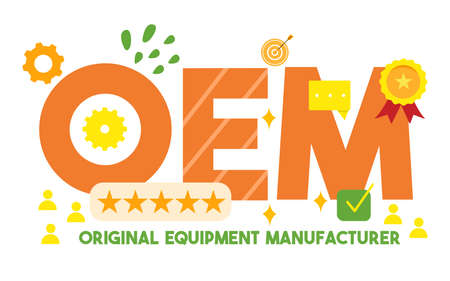 original equipment manufacturer concept OEM text word around target gear award rank icon with cartoon flat style
