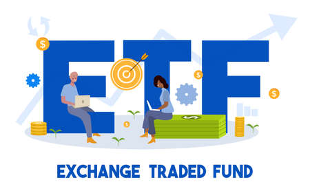 exchange traded fund concept man and woman working on laptop sit on money dollar currency ETF word around target gear coin icon with cartoon flat style
