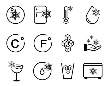 cold  icon icons collection package white isolated background with outline style 向量圖像