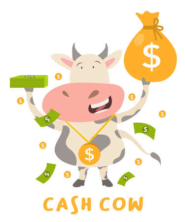 cash cow concept cow character standing happy hold money bag white isolated background with cartoon flat style