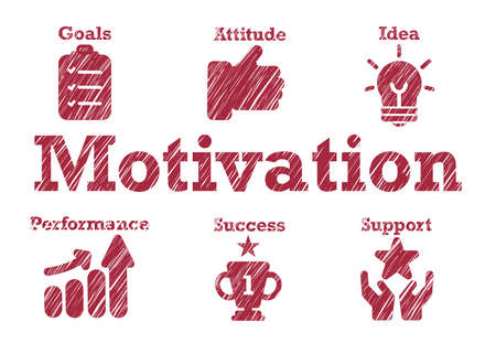 motivation typography lettering text around business icons white isolated background blur style