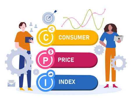 consumer price index concept man and woman hold tablet analyzing data with cartoon flat style
