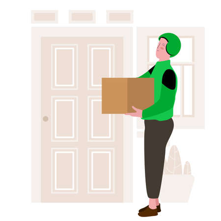 driver of instant delivery using green helm is handling the package and standing in front of the door Vektoros illusztráció