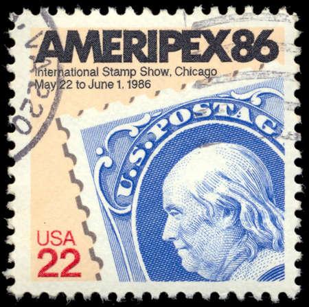 honoring: UNITED STATES OF AMERICA - CIRCA 1985: A stamp honoring AMERIPEX