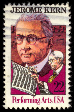philately: UNITED STATES - CIRCA 1985: a stamp printed in USA depicting Kern & music, inscription Jerome Kern & Performing arts , circa 1985