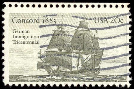 sailer: USA - CIRCA 1983: A Stamp printed in USA shows the Sailer Concord (1683), German immigration tricentennial, circa 1983