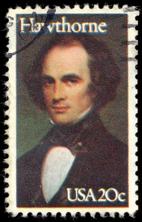 hawthorne: UNITED STATES - CIRCA 1983: a stamp printed in USA shows portrait of Nathaniel Hawthorne by Charles Osgood, 1841 (Peabody Essex Museum), circa 1983