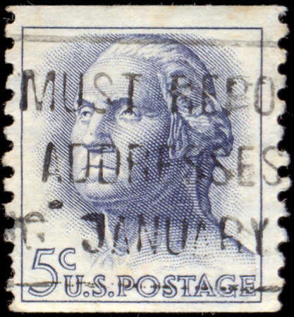 united states postal service: UNITED STATES OF AMERICA - CIRCA 1963: A stamp printed in the United States of America shows image of former President George Washington series, USA, circa 1963.