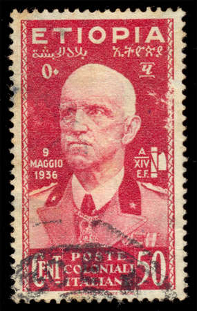 annexed: ITALY - CIRCA 1936: A stamp printed in Italy, shows the Emperor Victor Emmanuel III, 9 May, 1936 to commemorate the day that Ethiopia was annexed by Italy. circa 1936