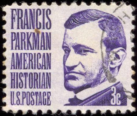 historian: USA - CIRCA 1967: A stamp printed in USA shows portrait of Francis Parkman (1823-1893) historian, circa 1967