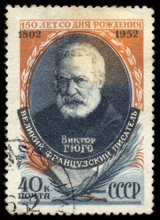 dramatist: USSR - CIRCA 1952: A stamp printed in USSR shows Victor Hugo (1802-1855), French Writer, 150th anniversary of Birth of Victor Hugo, circa 1952