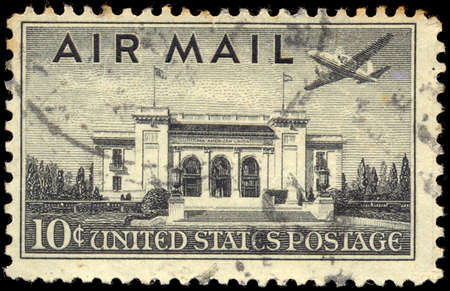 philately: USA - CIRCA 1947: Postage stamp printed in The United States of America shows the Pan American Union Building. Washington, DC. Sealing mark, circa 1947