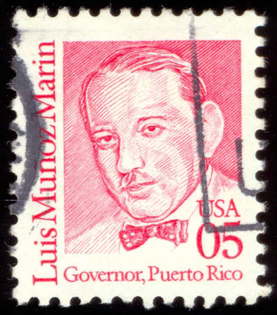 marin: UNITED STATES - CIRCA 1990: A stamp printed in USA shows Luis Munoz Marin - Governor, Puerto Rico, circa 1990 Editorial