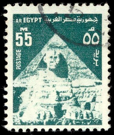 abjad: EGYPT - CIRCA 1954: stamp printed by Egypt, shows Sphinx, pyramid, circa 1954 Editorial