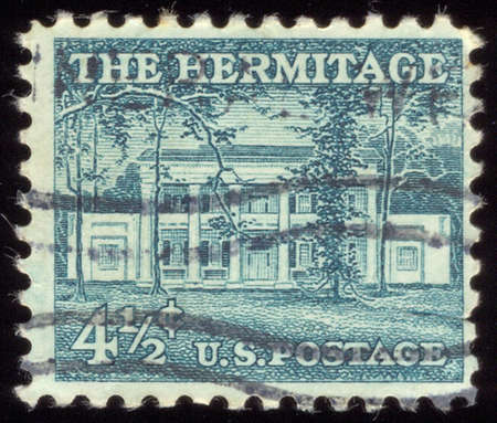 USA - CIRCA 1965: A stamp printed in USA shows image of the dedicated to The Hermitage is a historical plantation and museum located in Davidson County, Tennessee, USA, circa 1965.