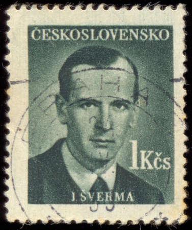 czechoslovakia: CZECHOSLOVAKIA - CIRCA 1949: A stamp printed in Czechoslovakia shows portrait of Jan Sverma (1901-1944), circa 1949