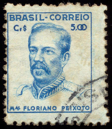 BRAZIL - CIRCA 1947: a stamp printed in the Brazil shows Marshal Floriano Peixoto, Soldier and Politician, Second President of Brazil, from 1891 to 1894, circa 1947