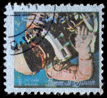 spaceflight: UMM AL-QUWAIN - CIRCA 1972: A stamp printed in the Umm al-Quwain shows American space missions, History of Spaceflight, circa 1972