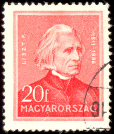 liszt: HUNGARY - CIRCA 1932: A stamp printed in Hungary, shows portrait of composer Ferenc Liszt (1811 - 1886), circa 1932 Editorial
