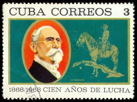gomez: CUBA - CIRCA 1968: a stamp printed in the Cuba shows Maximo Gomez, General (1868-1968 ), circa 1968 Editorial