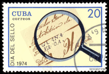 """poststempel: KUBA - CIRCA 1974: Ein Stempel in Kuba gedruckt zeigt Poststempel: Kuba 1839 mit Inschrift und den Namen der Serie """"Tag der Briefmarke"""", circa 1974"""
