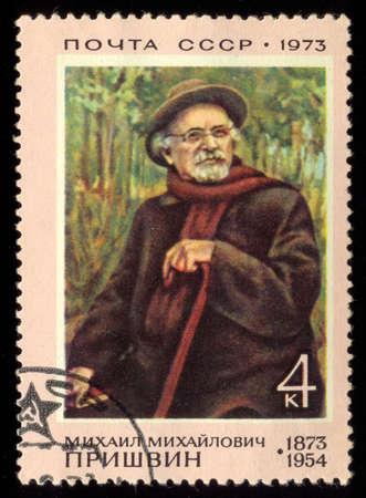 mediaval: USSR - CIRCA 1973: Postage stamp printed in USSR dedicated to Mikhail Mikhailovich Prishvin (1873-1954), Soviet writer, circa 1973.