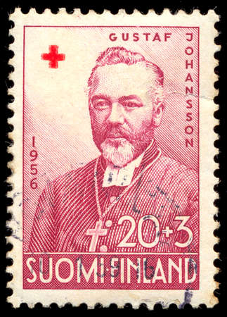suomi: SUOMI - FINLAND CIRCA 1956: A stamp printed in Finland, shows portrait of the Finnish archbishop Gustaf Johansson. Editorial