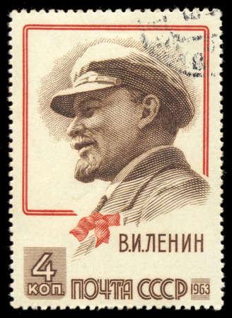 ephemera: RUSSIA - CIRCA 1963: A stamp printed in USSR (Soviet Union), shows Vladimir Lenin (Ulyanov) portrait. 93rd anniversary of the birth of Lenin, circa 1963 Editorial