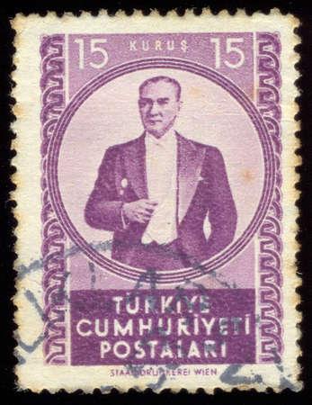 mustafa: TURKEY - CIRCA 1952: A stamp printed in Turkey shows portrait of Mustafa Kemal Ataturk (1881-1938), circa 1952