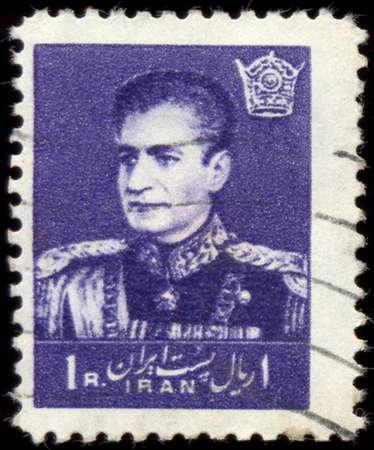 mohammad: IRAN - CIRCA 1958: A stamp printed in Iran shows Mohammad Reza Pahlavi, circa 1958.