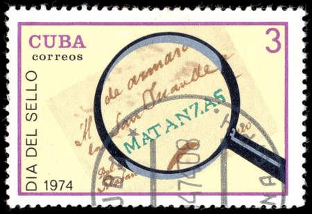 poststempel: KUBA - CIRCA 1974: einen Stempel in der Kuba gedruckt zeigt Poststempel aus Havanna, 1760, Tag der Briefmarke, circa 1974 Editorial