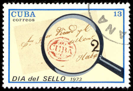 postmark: CUBA - CIRCA 1973: A stamp printed in Cuba shows Postmark: Cuba, 1839, with inscription and name of series Stamp Day, circa 1973